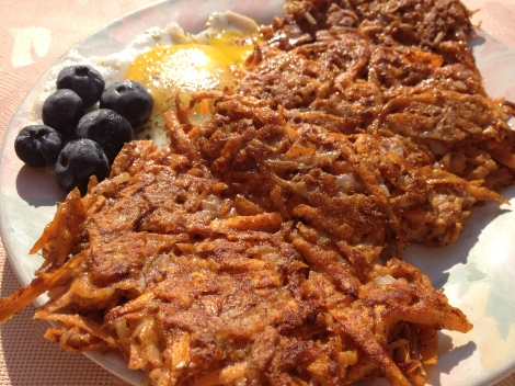 sweet potato and onion hash browns